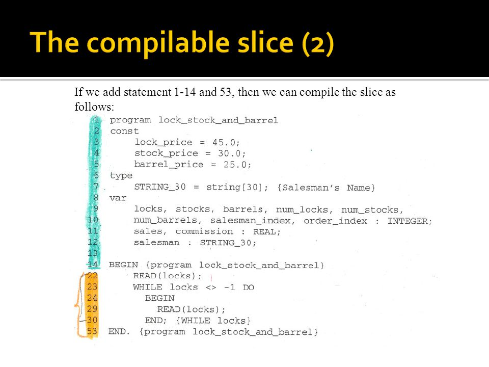 If we add statement 1-14 and 53, then we can compile the slice as follows: