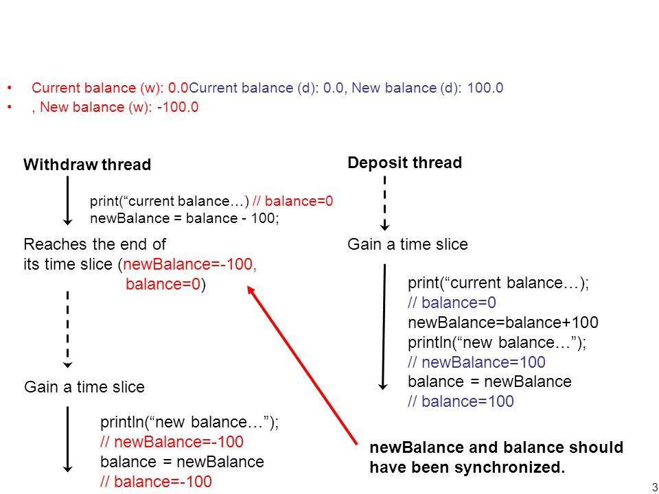 4 ThreadUnsafeBankAccount2 –Removed a local variable (newBalance) from ThreadUnsafeBankAccount to remove a risk to fail data synchronization between balance and newBalance –Output Current balance (d): 0.0, New balance (d): 100.0 Current balance (w): 100.0, New balance (w): 0.0 Current balance (d): 0.0, New balance (d): 100.0 Current balance (w): 100.0, New balance (w): 0.0 Current balance (d): 0.0Current balance (w): 0.0, New balance (w): -100.0, New balance (d): 100.0