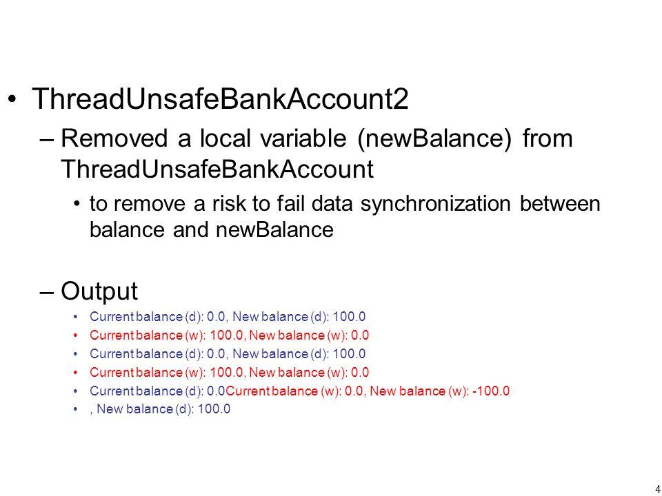 15 Nested Locking class BankAccount { private double balance; private ReentrantLock lock; public void deposit(double amount) { lock.lock(); balance += amount; if (balance < MIN_BALANCE) subractPenaltyFee(); lock.unlock(); } private void subractPenaltyFee() { balance -= PENALTY; } }