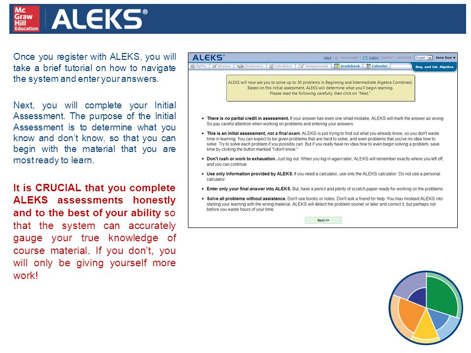 Once you register with ALEKS, you will take a brief tutorial on how to navigate the system and enter your answers. Next, you will complete your Initia