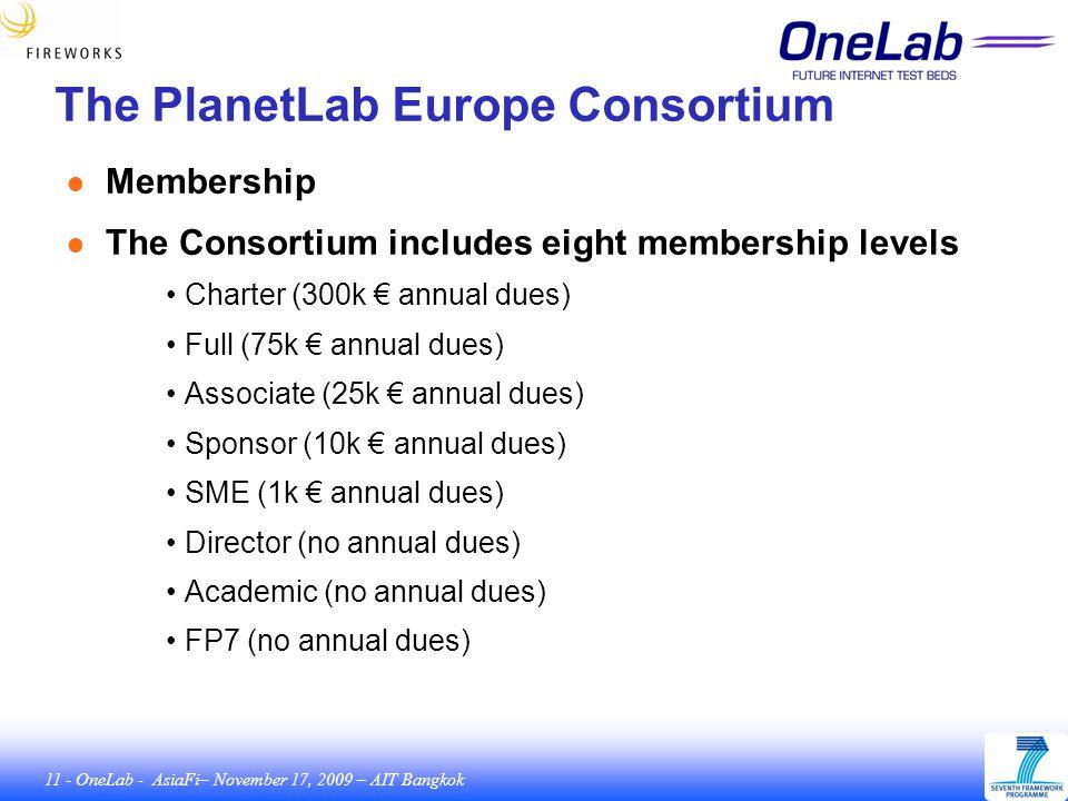 11 - OneLab - AsiaFi– November 17, 2009 – AIT Bangkok The PlanetLab Europe Consortium ● Membership ● The Consortium includes eight membership levels Charter (300k € annual dues) Full (75k € annual dues) Associate (25k € annual dues) Sponsor (10k € annual dues) SME (1k € annual dues) Director (no annual dues) Academic (no annual dues) FP7 (no annual dues)
