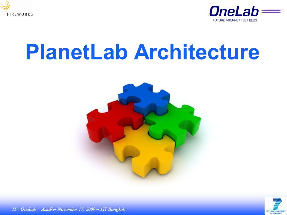 15 - OneLab - AsiaFi– November 17, 2009 – AIT Bangkok PlanetLab Architecture