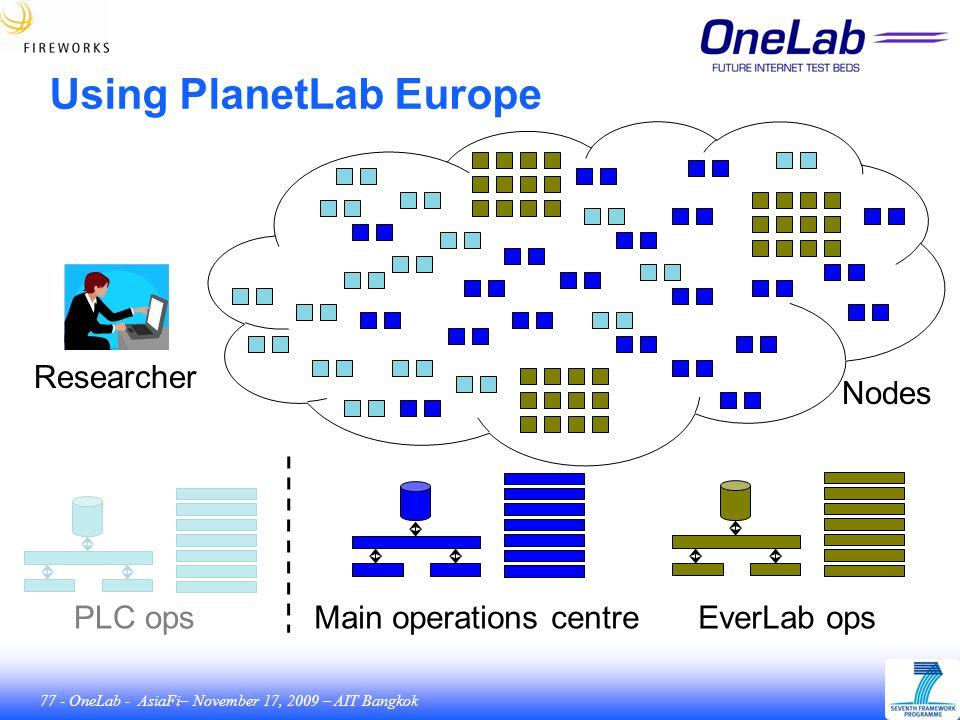 77 - OneLab - AsiaFi– November 17, 2009 – AIT Bangkok Using PlanetLab Europe Main operations centreEverLab opsPLC ops Nodes Researcher