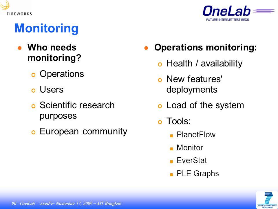 96 - OneLab - AsiaFi– November 17, 2009 – AIT Bangkok Monitoring ● Who needs monitoring.