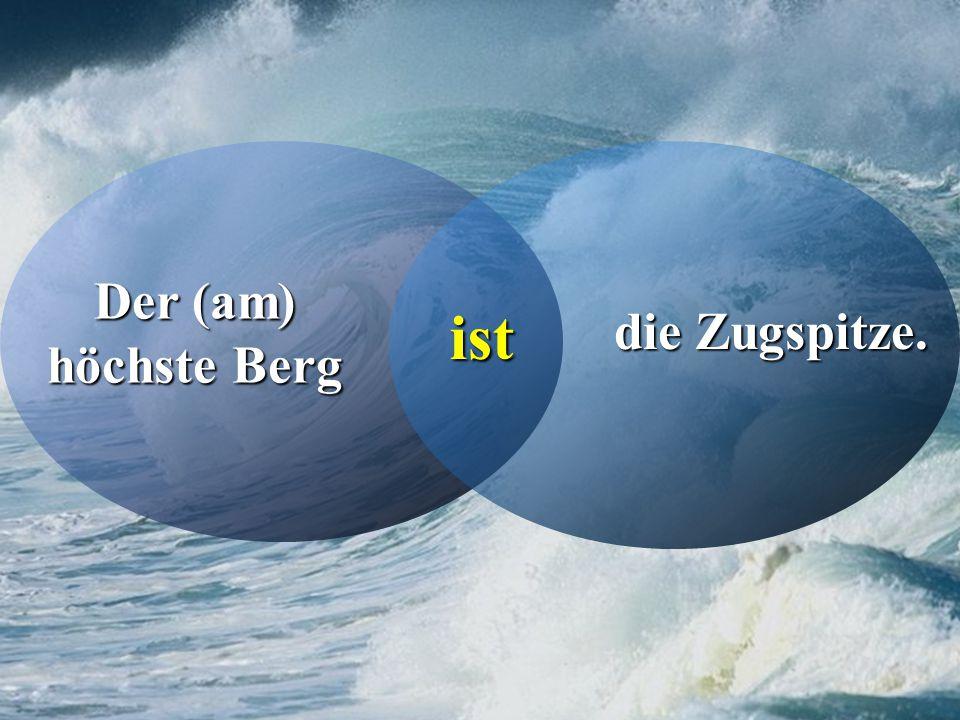 Zu den hohen Bergen Deutschlands gehören….BergeHoch die Zugspitze 2962 m der Watzmann 2713 m der Feldberg 1493 m Großer Arber 1456 m der Brocken 1142 m Die Zugspitze ist höher als der Watzmann.