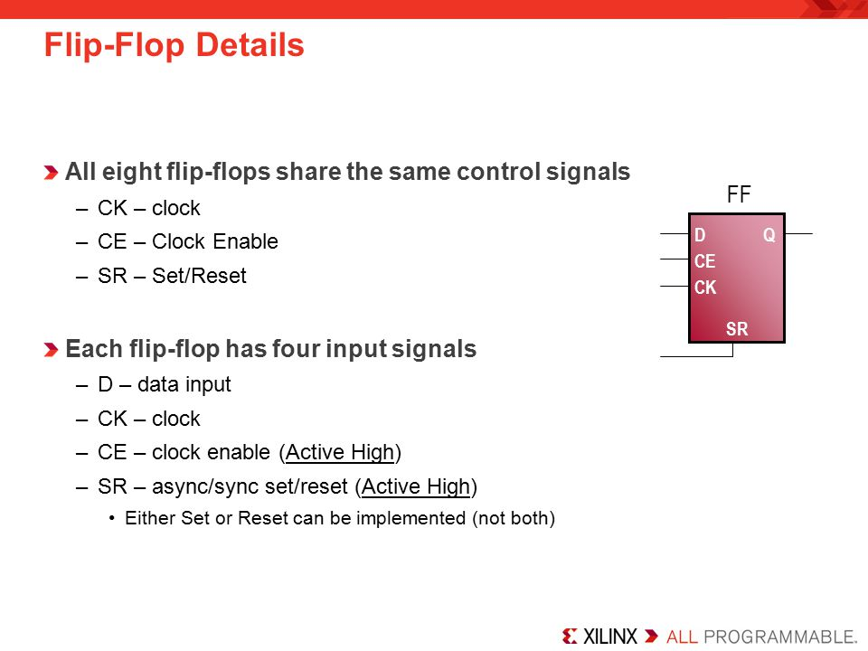 All eight flip-flops share the same control signals –CK – clock –CE – Clock Enable –SR – Set/Reset Each flip-flop has four input signals –D – data inp