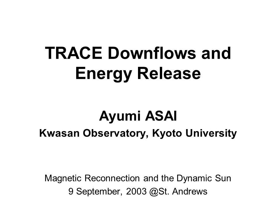 Downflow Motion Yohkoh (SXT) has found downflows above post-flare loops McKenzie and Hudson 1999 McKenzie 2000 velocity: 45–500 km/s dark feature often seen in the decay phase of LDEs Yohkoh/SXT : McKenzie 2000