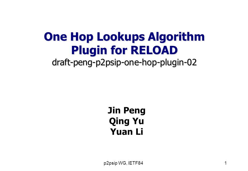 p2psip WG, IETF841 Jin Peng Qing Yu Yuan Li One Hop Lookups Algorithm Plugin for RELOAD draft-peng-p2psip-one-hop-plugin-02