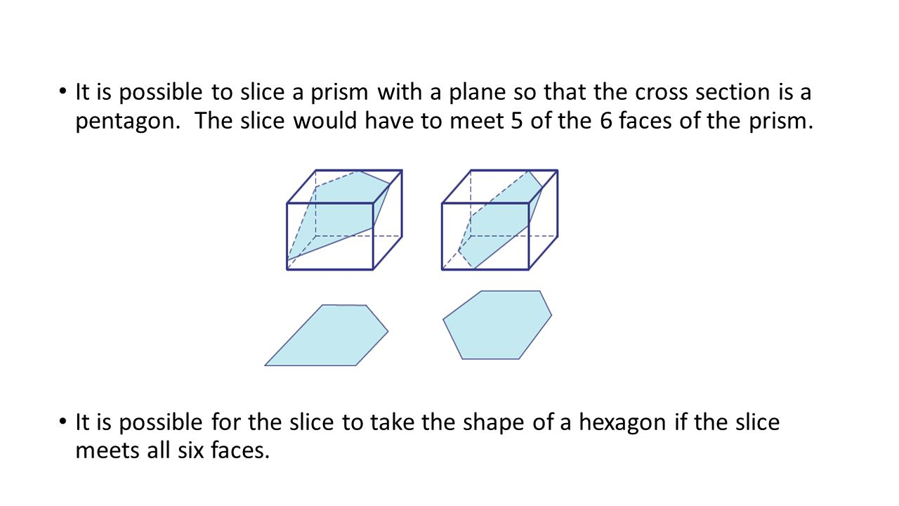 It is possible to slice a prism with a plane so that the cross section is a pentagon. The slice would have to meet 5 of the 6 faces of the prism. It i