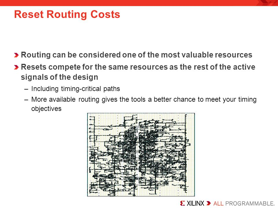 Reset Routing Costs Routing can be considered one of the most valuable resources Resets compete for the same resources as the rest of the active signa