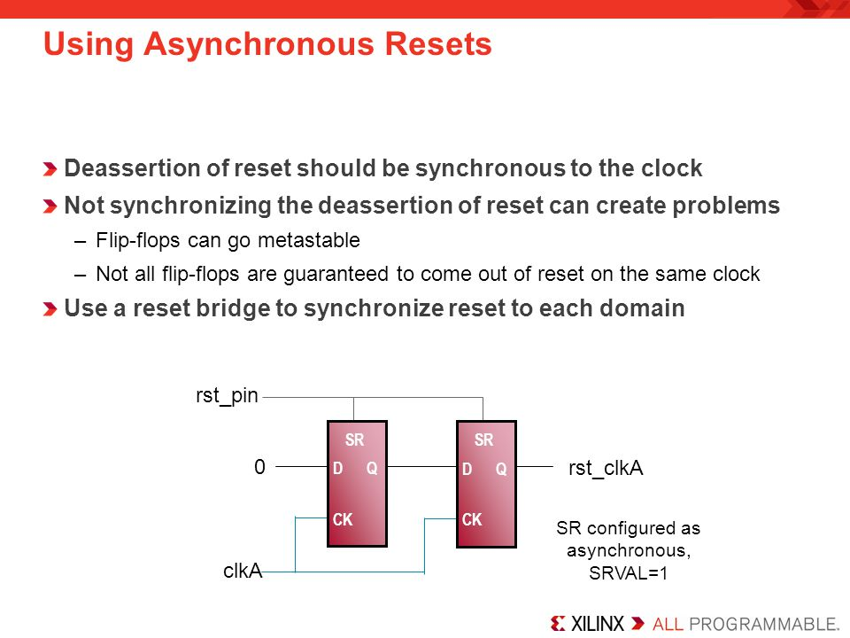 Using Asynchronous Resets Deassertion of reset should be synchronous to the clock Not synchronizing the deassertion of reset can create problems –Flip