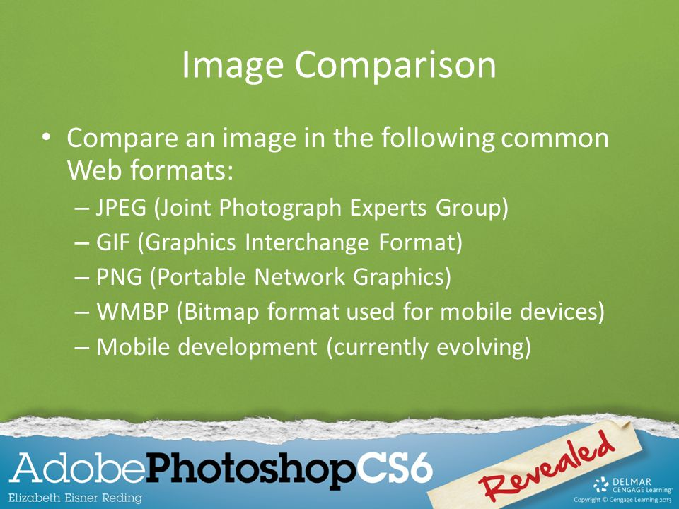 Image Comparison Compare an image in the following common Web formats: – JPEG (Joint Photograph Experts Group) – GIF (Graphics Interchange Format) – PNG (Portable Network Graphics) – WMBP (Bitmap format used for mobile devices) – Mobile development (currently evolving)