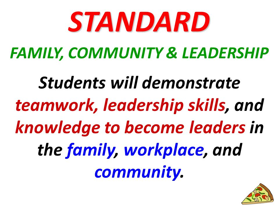 FAMILY, COMMUNITY & LEADERSHIP Students will demonstrate teamwork, leadership skills, and knowledge to become leaders in the family, workplace, and community.