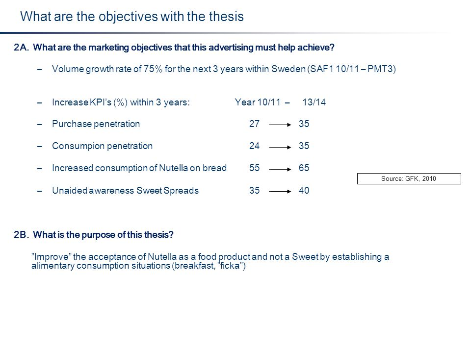 2A. What are the marketing objectives that this advertising must help achieve? –Volume growth rate of 75% for the next 3 years within Sweden (SAF1 10/
