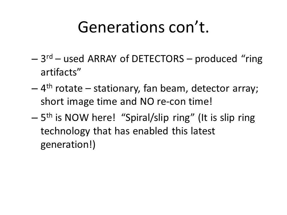 Generations con't.