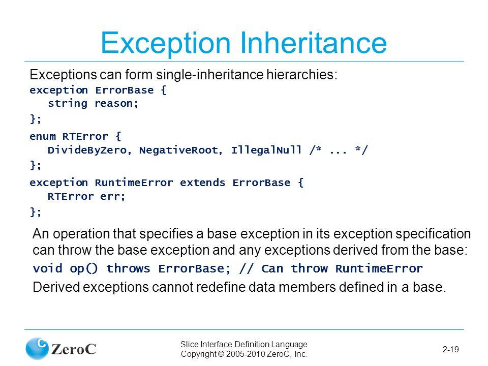 Slice Interface Definition Language Copyright © 2005-2010 ZeroC, Inc. 2-19 Exception Inheritance Exceptions can form single-inheritance hierarchies: e