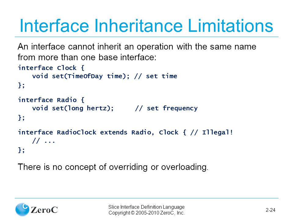 Slice Interface Definition Language Copyright © 2005-2010 ZeroC, Inc. 2-24 Interface Inheritance Limitations An interface cannot inherit an operation