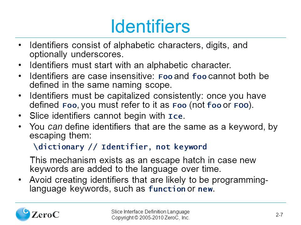 Slice Interface Definition Language Copyright © 2005-2010 ZeroC, Inc.