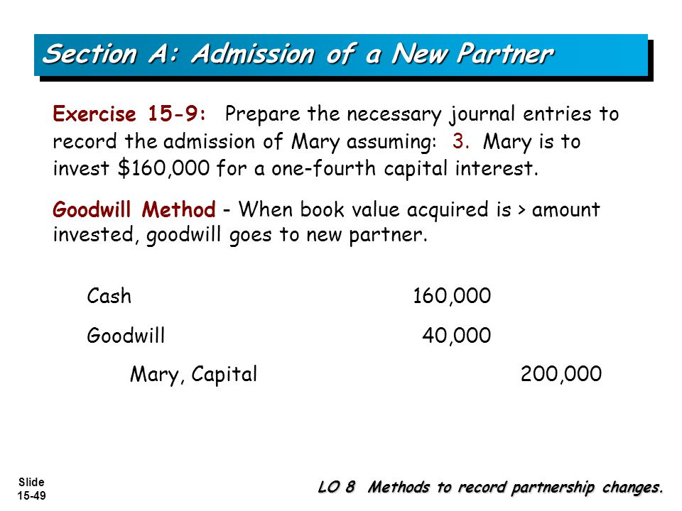 Slide 15-49 Exercise 15-9: Prepare the necessary journal entries to record the admission of Mary assuming: 3. Mary is to invest $160,000 for a one-fou