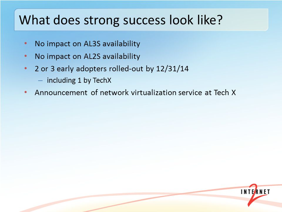 No impact on AL3S availability No impact on AL2S availability 2 or 3 early adopters rolled-out by 12/31/14 – including 1 by TechX Announcement of network virtualization service at Tech X What does strong success look like?