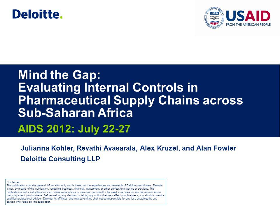 Mind the Gap: Evaluating Internal Controls in Pharmaceutical Supply Chains across Sub-Saharan Africa AIDS 2012: July 22-27 Julianna Kohler, Revathi Av