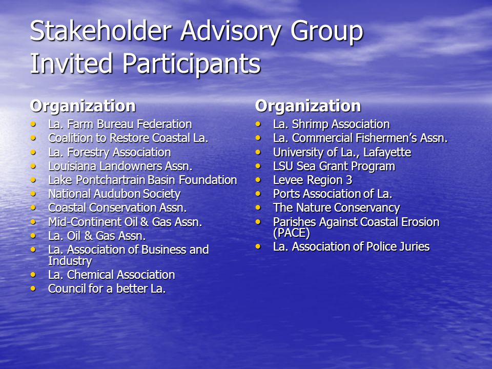 Stakeholder Advisory Group Invited Participants Organization La.