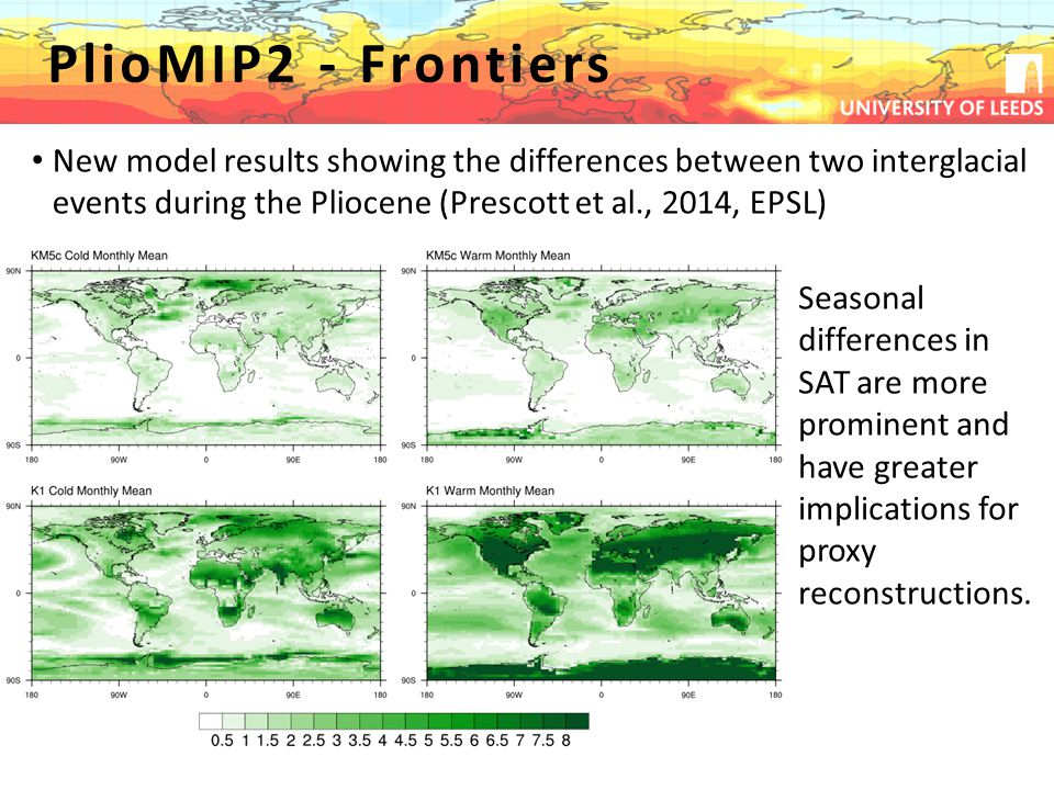 Pliocene Uncertainty… PlioMIP2 - Frontiers New model results showing the differences between two interglacial events during the Pliocene (Prescott et al., 2014, EPSL) Seasonal differences in SAT are more prominent and have greater implications for proxy reconstructions.