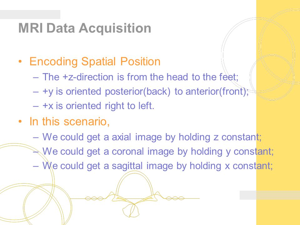 MRI Data Acquisition Encoding Spatial Position –The +z-direction is from the head to the feet; –+y is oriented posterior(back) to anterior(front); –+x is oriented right to left.