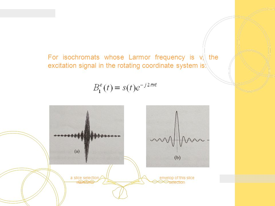For isochromats whose Larmor frequency is v, the excitation signal in the rotating coordinate system is: a slice selection waveform envelop of this slice selection