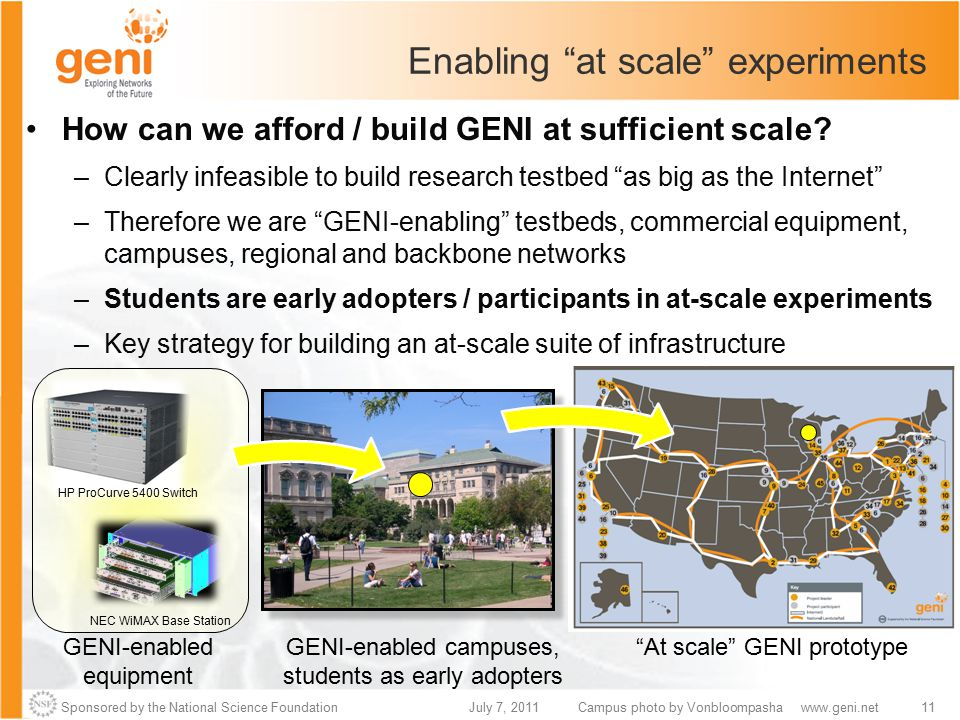 Sponsored by the National Science Foundation11July 7, 2011www.geni.net At scale GENI prototype Campus photo by Vonbloompasha Enabling at scale experiments How can we afford / build GENI at sufficient scale.
