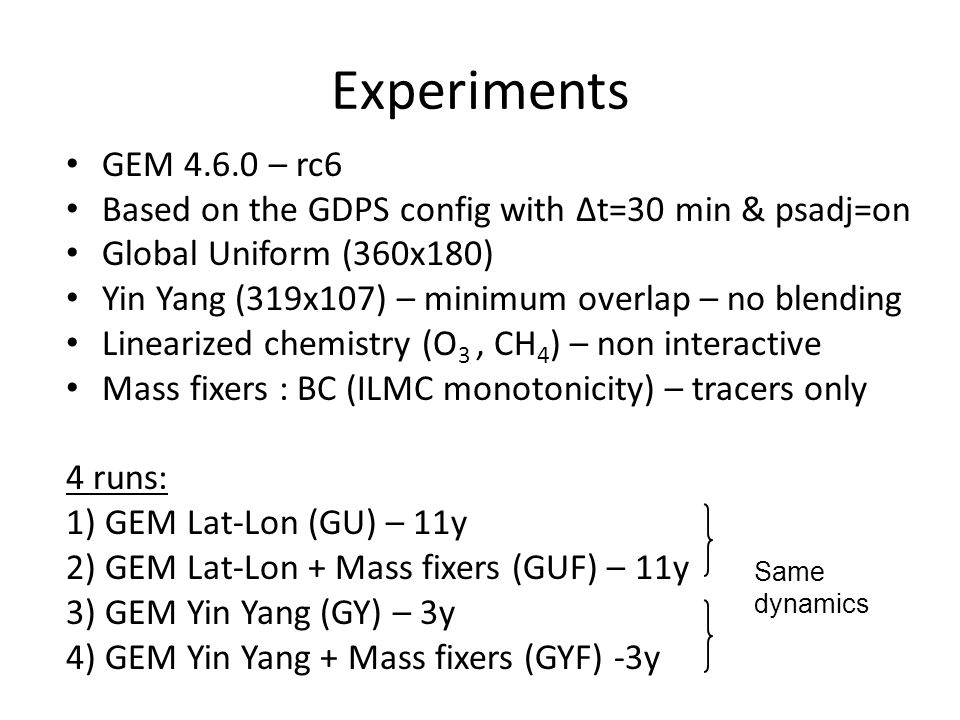 Experiments GEM 4.6.0 – rc6 Based on the GDPS config with Δt=30 min & psadj=on Global Uniform (360x180) Yin Yang (319x107) – minimum overlap – no blending Linearized chemistry (O 3, CH 4 ) – non interactive Mass fixers : BC (ILMC monotonicity) – tracers only 4 runs: 1) GEM Lat-Lon (GU) – 11y 2) GEM Lat-Lon + Mass fixers (GUF) – 11y 3) GEM Yin Yang (GY) – 3y 4) GEM Yin Yang + Mass fixers (GYF) -3y Same dynamics