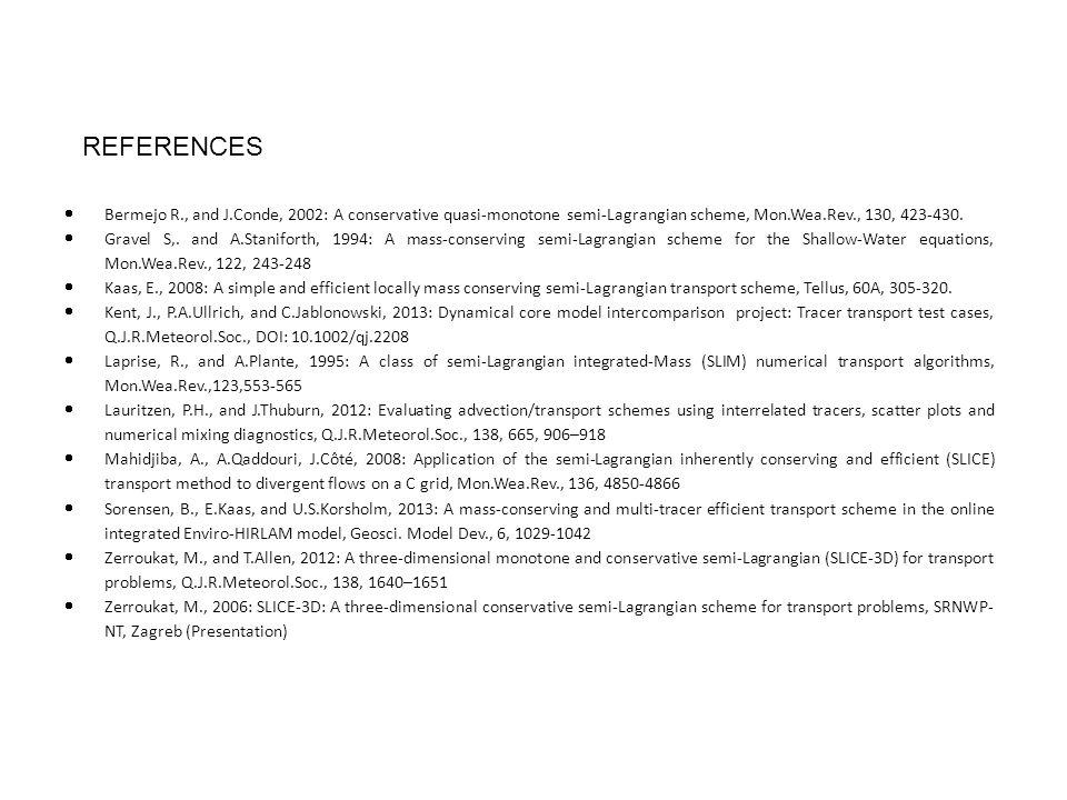  Bermejo R., and J.Conde, 2002: A conservative quasi-monotone semi-Lagrangian scheme, Mon.Wea.Rev., 130, 423-430.