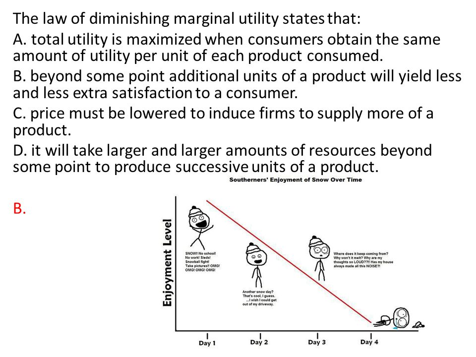 The law of diminishing marginal utility states that: A. total utility is maximized when consumers obtain the same amount of utility per unit of each p