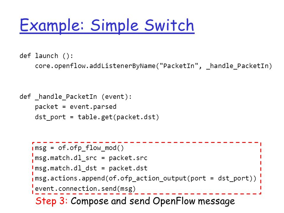 Example: Simple Switch def launch (): core.openflow.addListenerByName(