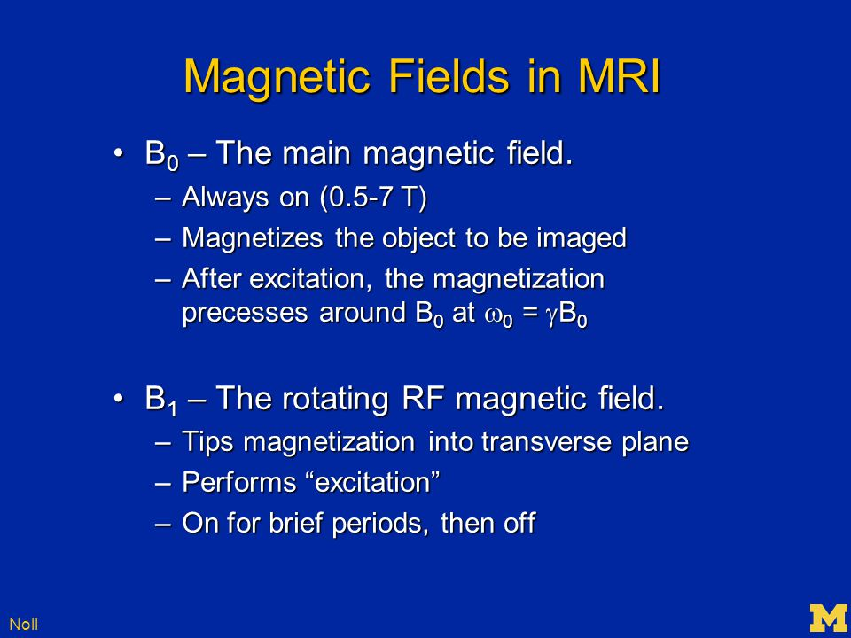 Noll Gradient Fields The last magnetic field to be used in MRI are the gradient fieldsThe last magnetic field to be used in MRI are the gradient fields –3 of them: G x, G y, G z –These are for localization –Make the magnetic field different in different parts of the body, e.g.