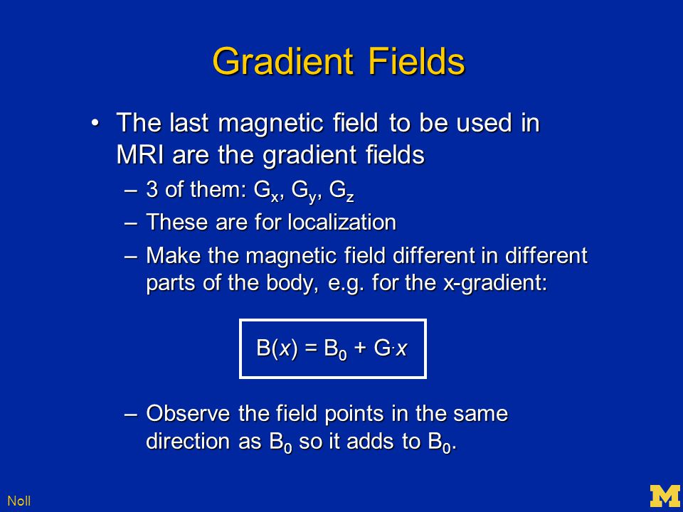 Noll Gradients x-gradient (G x ) y-gradient (G y ) z-gradient (G z )