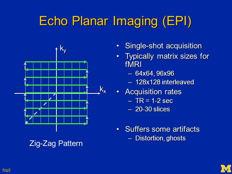 Noll Echo Planar Imaging (EPI) kxkxkxkx kykykyky Zig-Zag Pattern Single-shot acquisitionSingle-shot acquisition Typically matrix sizes for fMRITypically matrix sizes for fMRI –64x64, 96x96 –128x128 interleaved Acquisition ratesAcquisition rates –TR = 1-2 sec –20-30 slices Suffers some artifactsSuffers some artifacts –Distortion, ghosts
