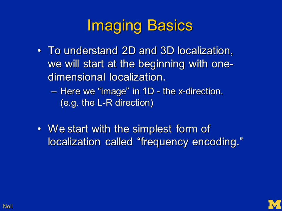 Noll The 3 rd Dimension We've talked about 1D and 2D imaging, but the head is 3D.We've talked about 1D and 2D imaging, but the head is 3D.