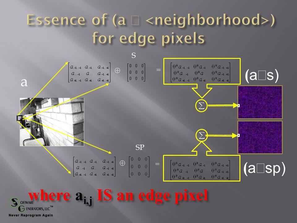 a ( a  s) S SP  =   =  where a i,j is NOT an edge pixel ( a  sp)