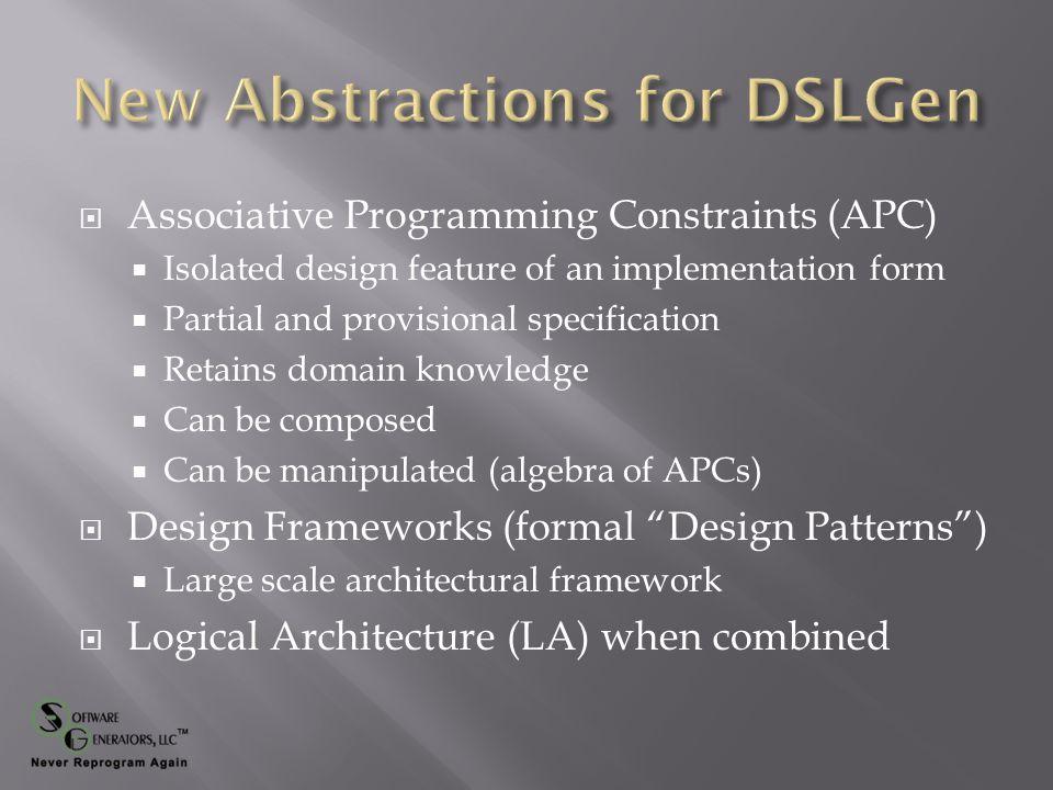 PROBLEM DOMAIN (PD) PROGRAM LANGUAGE DOMAIN (PLD)  DSLGen™ Design in PD  MDE (Model Driven Engineering) in PLD PL Associative Programming CONSTRAINTS (APCs) Initial DSLGen™ Architecture Representation