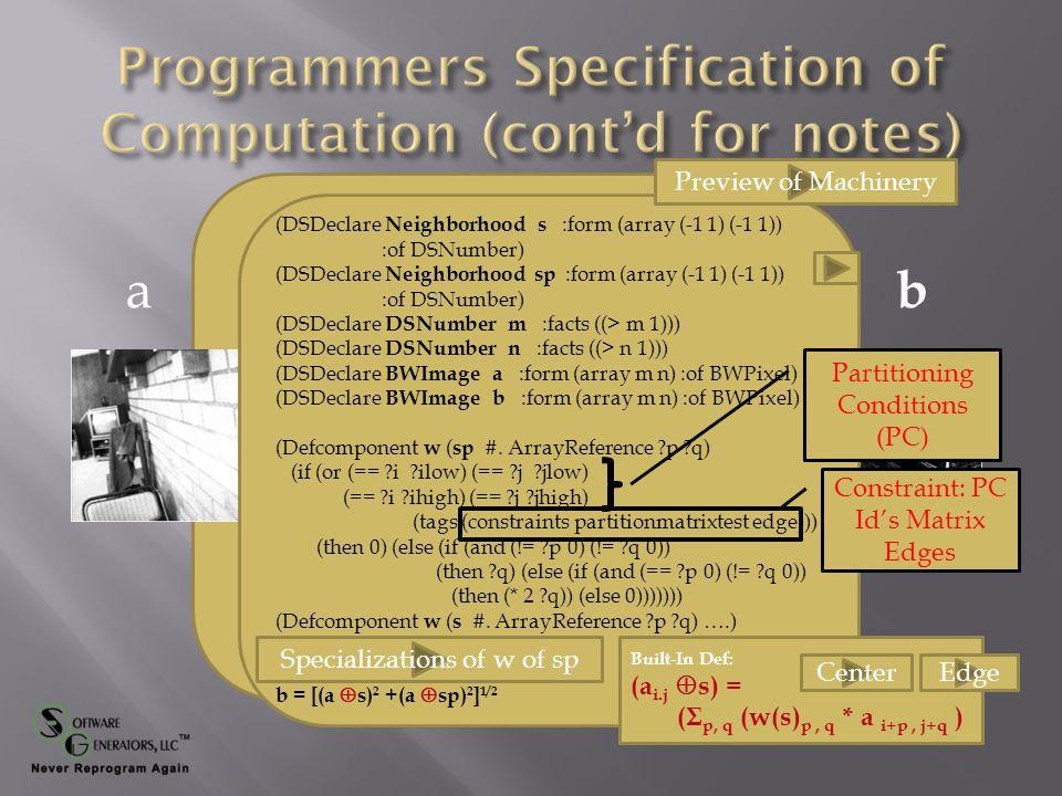 (DSDeclare Neighborhood s :form (array (-1 1) (-1 1)) :of DSNumber) (DSDeclare Neighborhood sp :form (array (-1 1) (-1 1)) :of DSNumber) (DSDeclare DSNumber m :facts ((> m 1))) (DSDeclare DSNumber n :facts ((> n 1))) (DSDeclare BWImage a :form (array m n) :of BWPixel) (DSDeclare BWImage b :form (array m n) :of BWPixel) (Defcomponent w ( sp #.