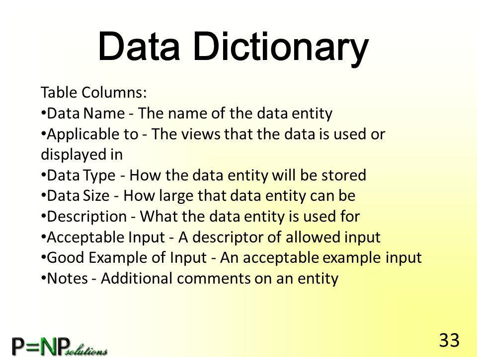 Data Dictionary Table Columns: Data Name - The name of the data entity Applicable to - The views that the data is used or displayed in Data Type - How the data entity will be stored Data Size - How large that data entity can be Description - What the data entity is used for Acceptable Input - A descriptor of allowed input Good Example of Input - An acceptable example input Notes - Additional comments on an entity 33