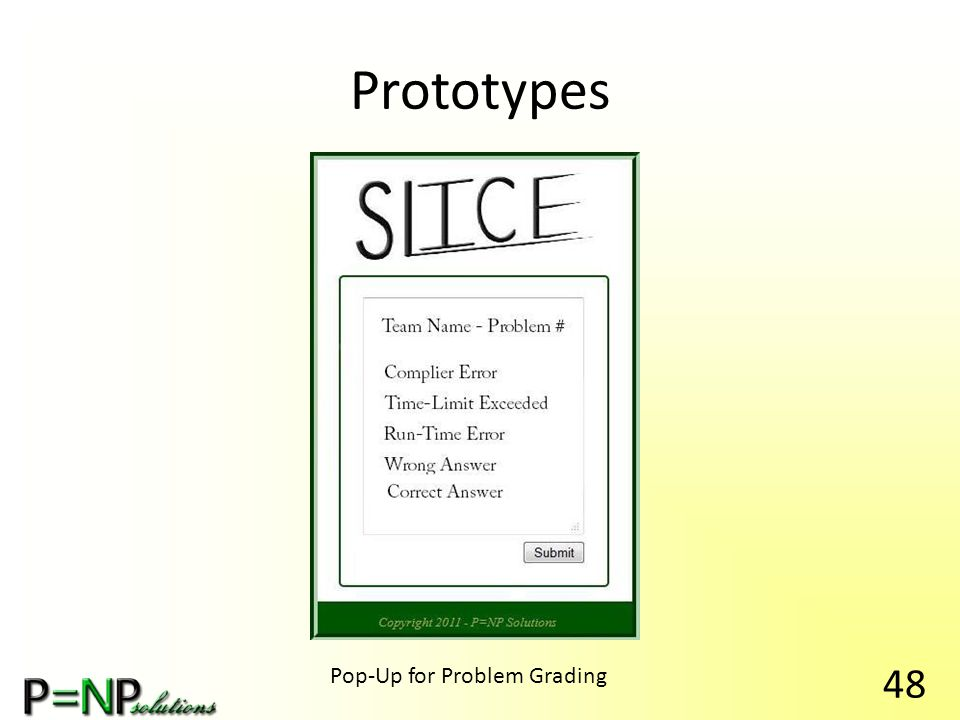 Prototypes Pop-Up for Problem Grading 48