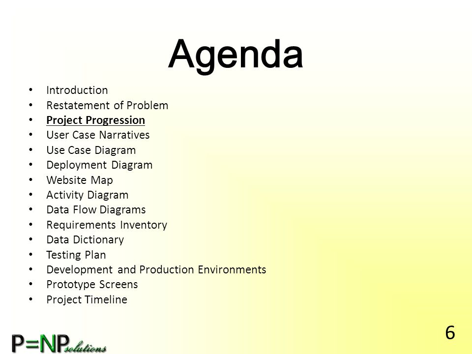 Agenda Introduction Restatement of Problem Project Progression User Case Narratives Use Case Diagram Deployment Diagram Website Map Activity Diagram Data Flow Diagrams Requirements Inventory Data Dictionary Testing Plan Development and Production Environments Prototype Screens Project Timeline 17