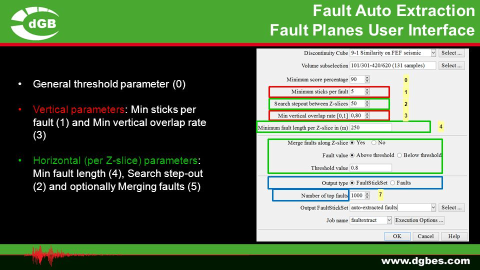 Fault Auto Extraction Fault Planes User Interface The new Fault Auto Extraction tool is under the Processing menu General threshold parameter (0) Vert