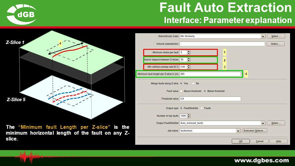 "1 2 Z-Slice 1 Z-Slice 5 3 The ""Minimum fault Length per Z-slice"" is the minimum horizontal length of the fault on any Z- slice. 4 4 Fault Auto Extract"
