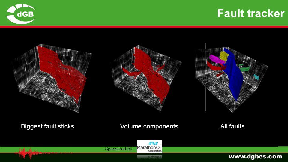 Fault tracker similarityFault scoreFault azimuth grey Binary faults 90%Binary faults 95% All faultsBiggest fault sticks Volume components Fault azimut