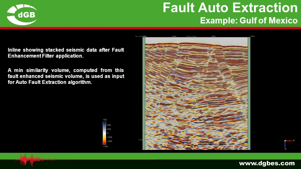 Fault Auto Extraction Example: Gulf of Mexico Inline showing stacked seismic data after Fault Enhancement Filter application. A min similarity volume,
