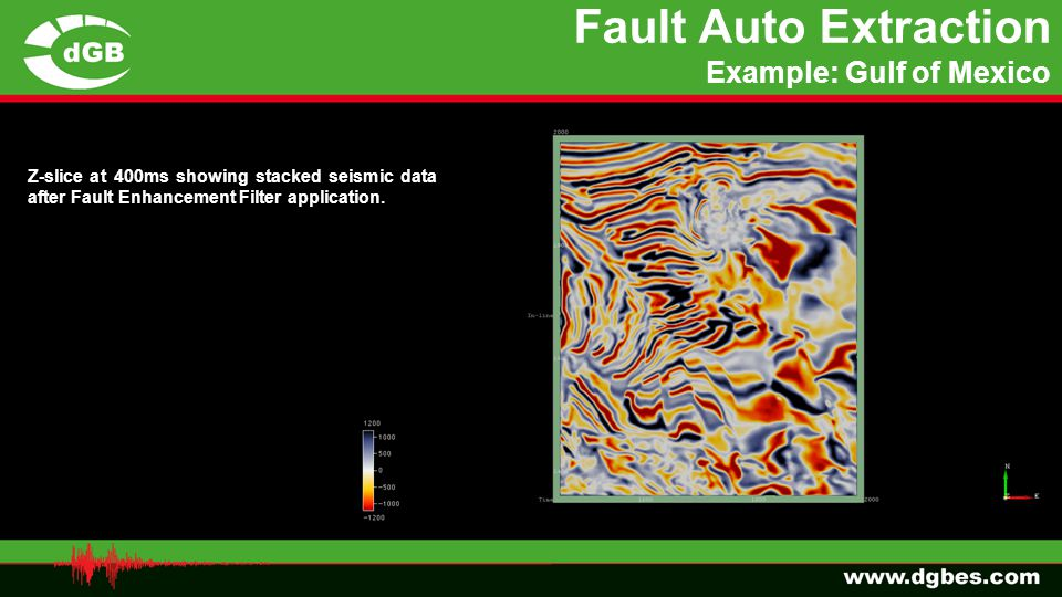 Fault Auto Extraction Example: Gulf of Mexico Z-slice at 400ms showing stacked seismic data after Fault Enhancement Filter application.