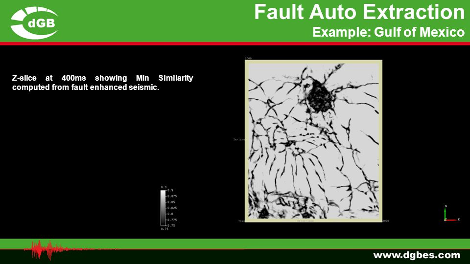 Fault Auto Extraction Example: Gulf of Mexico Z-slice at 400ms showing Min Similarity computed from fault enhanced seismic.